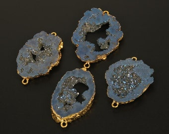 Geode Quartz Druzy Connector Beads in Blue Color, Crystal Drusy Gemstone Pendant, Gold Plated Druzy Connector Findings 6-7mm Thickness