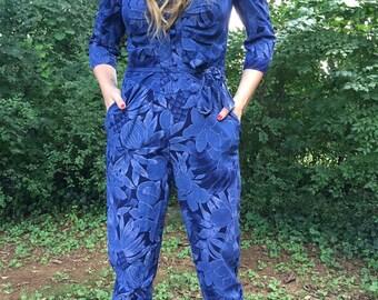 Vintage blue floral jumpsuit/Romper/SizeMedium