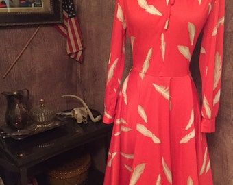 Vintage Salmon pink Feather dress/60s/70s/Size 12/Medium
