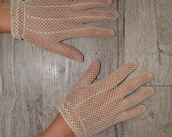 gloves Greige e lace vintage