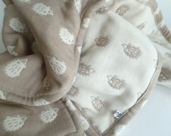 Hedgehogs blanket, spirit animal, baby blanket, gauze blanket, muslin blanket, stroller blanket for baby boy baby girl