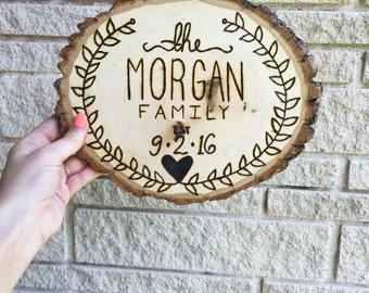 Wood Burned Wedding Gift Plaque