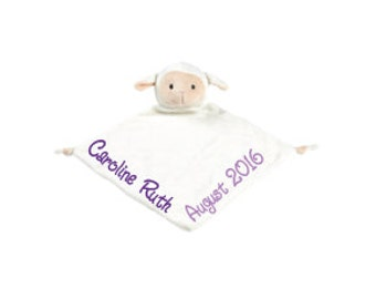 Monogram Security Blanket Personalized Security Blanket Embroidered Security Blanket Baby Snuggle Animal Baby Snuggle Blanket Lamb Blanket