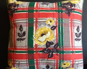 "Vintage Barkcloth Mid Century Pillow 18""x18"", Insert Included"