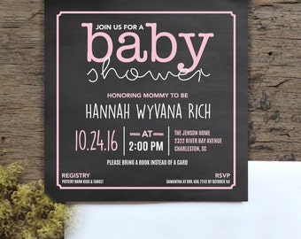 Baby girl shower invitation, girls baby shower invitation, chalkboard, pink, pink baby shower, DIY, printable shower invitation, it's a girl