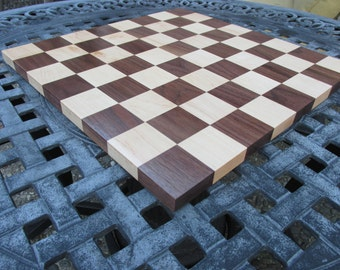 Birthday gift for men. Chess board made of maple and walnut. Wooden chess board gift ideas. Custom orders are welcome. 16 inch chess board
