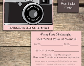 INSTANT DOWNLOAD: Photography Studio Session Reminder Card - Photoshop Template - Customizable - R101