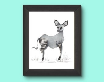 Okapi illustration print