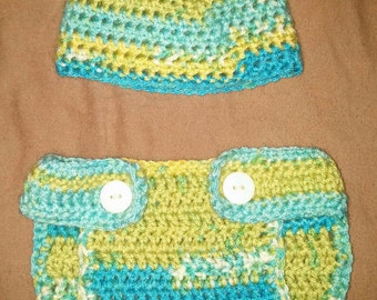 Matching Diaper Cover and Beanie set