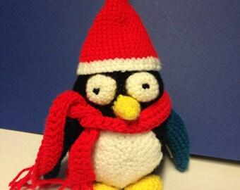 Handmade Crocheted Christmas Santa Penguin