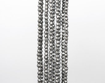 1769_Off round hematite beads 3 mm, Silver metal beads, Faceted beads, Natural stones,Small metallic beads,Roundish beads for jewerly making