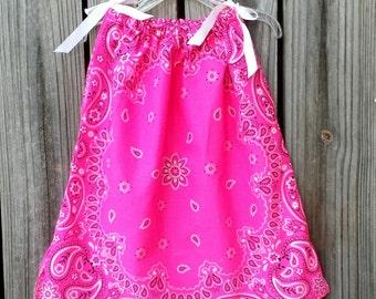 Neon Pink Baby Girl Clothes, 1 Year Old Bandana Dress, Bandana Neon Pink, Bandana Outfit For Girls, Girls Pillowcase Dress, Toddler Sundress