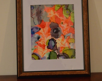 Maple Leaves: Abstract Alcohol Ink Original Painting
