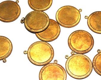 5 Vintage Brass Disc Charm, Large Brass Disc, Vintage Brass Charm, Vintage Charm, Brass Charm, Vintage Disc, Vintage Charm, Charm Blank