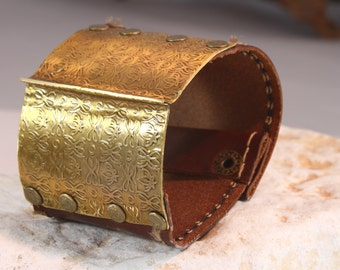Designer Brass & leather  Cuff bracelet