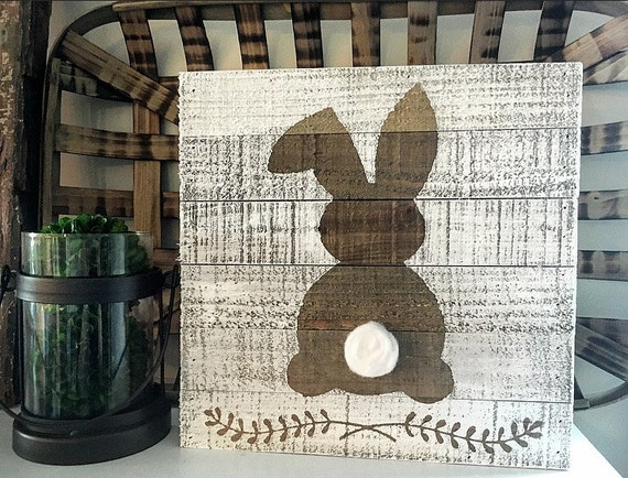 Rustic Easter Bunny Sign Easter Sign Spring By