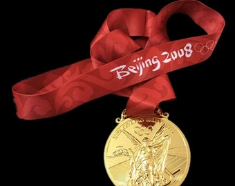 Beijing 2008 Olympic 'Gold' Medal + Silk Ribbons
