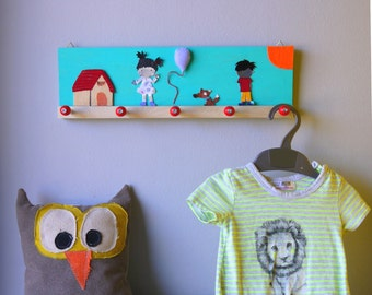 Light blue Boy and Girl  Clothes rack