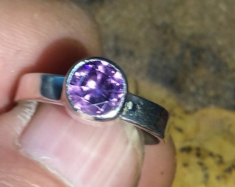 Purple Sapphire Ring .925 sterling silver size 8.5
