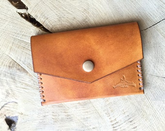 Leather pouch card holder