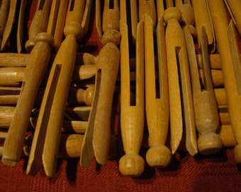 """Vintage clothes pins / laundry pegs.  Lot of 30+.  lengths vary from 3 5/8"""" to 4 1/4"""""""