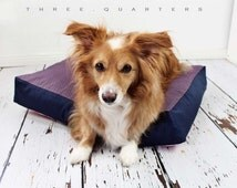 Dog bed, dog, cat, roost, pillows, cozy, cuddly, big, dark blue, dots, pink, polka dots, gray, blue, polka dots, pink