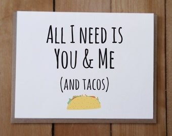 You and Me and Tacos: Valentine's Day Card, Anniversary Card, Love Card, Friendship Card
