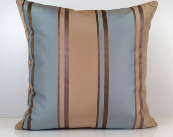 Light and Dark Tan, Greyish Blue Pillow, Throw Pillow Cover, Decorative Pillow Cover, Cushion Cover, Accent, Striped Pillow, Silk Blend