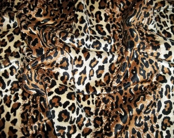 DESIGNER ETHNIC CHIC Simba Leopard Leopardo Cheetah Velvet Fabric Remnant Black Brown Cream