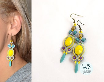 Long dangle earrings, handmade earrings. Jewelry from Soutache. Earrings juicy lemon color, turquoise, purple and matte gold crystals.