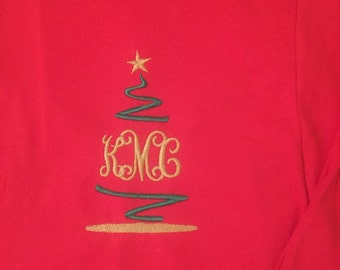 New Custom Embroidered Christmas Tree Initial Long Sleeve T-Shirt SMLXL