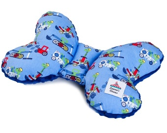EU Seller - Ergonomic Baby Pillow in Minky Butterfly Travel Pillow BULLDOZERS and BLUE Minky