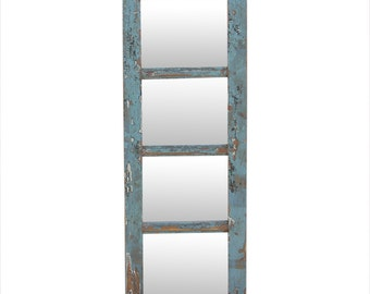 Distressed Blue Paneled Mirror; painted paneled mirror; French country mirror