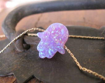 Opal hamsa necklace, opal necklace, purple opal necklace, evil eye necklace, gold filled necklace, opal jewelry, opal hand jewelry