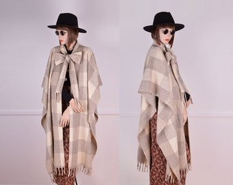 Spring Sale: Grey & Oatmeal Plaid Wool Cape