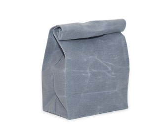 Lunch Bag in Light Gray // Waxed Canvas Lunch Bag // Gray Lunch Bag // Reusable Lunch Bag