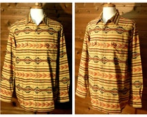 Men's Western Shirt, Southwestern Shirt, Oversize Shirt, Ethnic Shirt, Country Western Shirt, Tribal Shirt, Cowboy Shirt, Rodeo Shirt, XL