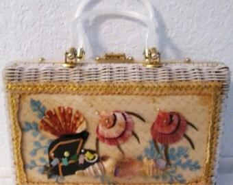 Sea Life Wicker Handbag