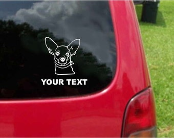 Set (2 Pieces)  Chihuahua  Dog  Sticker Decals with custom text 20 Colors To Choose From.  U.S.A Free Shipping