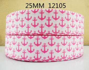1 inch Pink Anchors on White  - Style 12105 - Nautical -  Printed Grosgrain Ribbon for Hair Bow