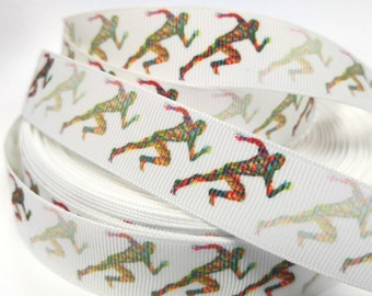 7/8 inch  - Colorful Running Man on White Marathon Mile Runner Runners Sports Printed Grosgrain Ribbon for Hairbow