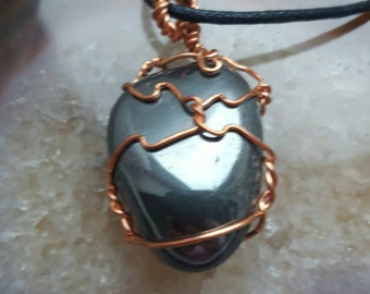 Hematite wire wrapped necklace