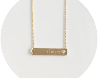 Chicago Engraved on Bar Necklace