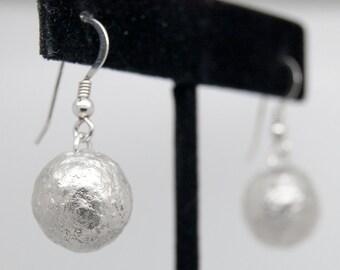 Crude balls earrings sterling silver