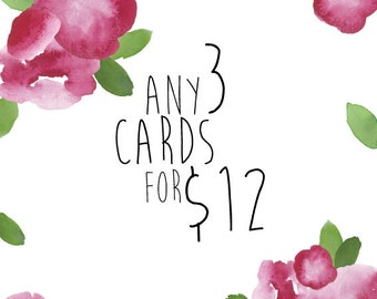 Any 3 Greeting Cards Mix and Match