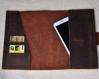 Handmade Unique Leather Book cover A5/A6(  Contact me to Custom Other sizes),Book slipcover,Book Jacket,Attached Blank notepad (Free stamp)