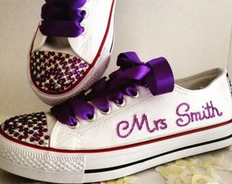 Wedding Bridal Hand Embellished Blinged Personalised Pumps Shoes. UK Sizes 3-8