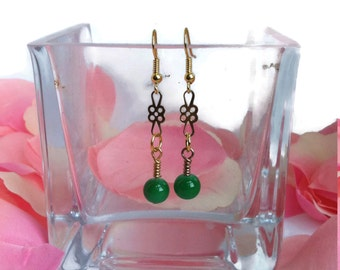 EARRINGS/LONG/GOLDEN and green