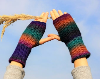 Multicolored Fingerless Gloves / Colour Mixes Crochet Arm Warmers / Rainbow Half Finger Gloves / Fall Winter Accessories / Christmas Gift