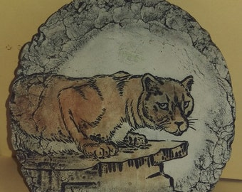 Beautiful Vintage Panther Picture on Stoneware Plaque